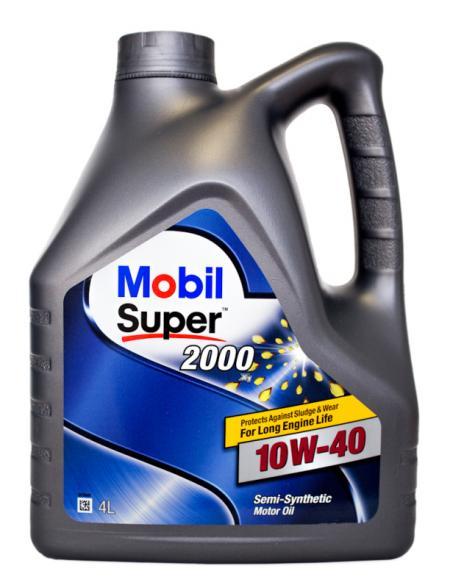 Масло моторное в двигатель полусинтетика Mobil Super 2000 X1 10W40, 4л 150018