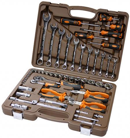 OMT55S Универсальный набор инструмента торцевые головки 4-32 мм 1 / 4 и 1 / 2DR и аксессуары к ним комбинированные ключи 8-22мм, отвертки, 55 предметов OMT55S