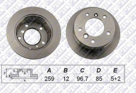 Диск тормозной задний MERCEDES / VW Sprinter 2.8t 02 / 95- LT 2.3-2.8 05 / 96- BD005895