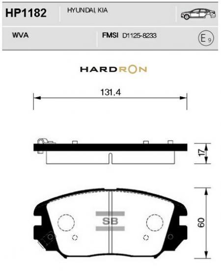 комплект колодок тормозных передних HardronZ HP1182