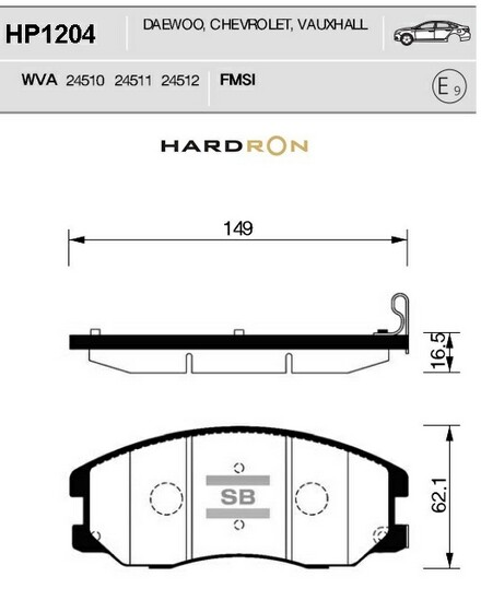 комплект колодок тормозных передних HardronZ HP1204