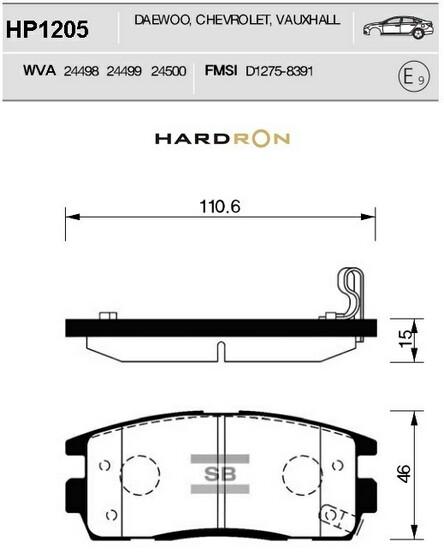 комплект колодок тормозных задних HardronZ HP1205