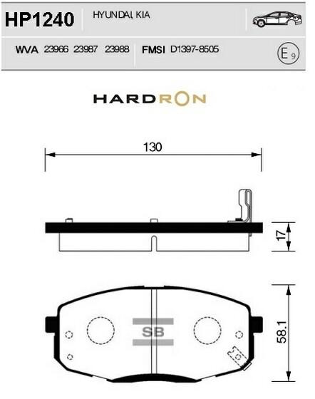 комплект колодок тормозных передних HardronZ HP1240