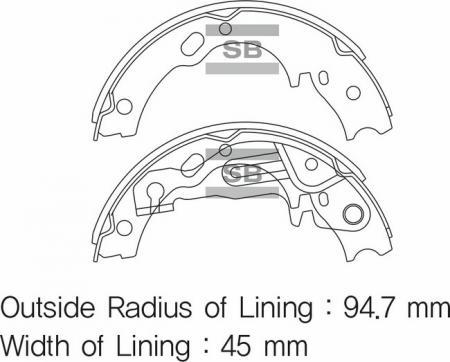 Колодки барабанные HYUNDAI HD45 / 65 / COUNTY 04- ручника комплект SA159