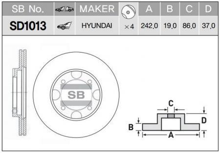 Тормозной диск передний вент.[242x19] 4 отв. SD1013