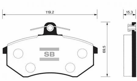 Колодки тормозные передние Chery Tiggo, Amulet, Fora Sangsin SP1043 SP1043