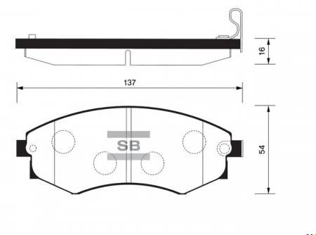 Колодки тормозные передние Ssang Yong Musso, Korando (ТаГАЗ), Tager, Road Partner SANGSIN SP1065 SP1065