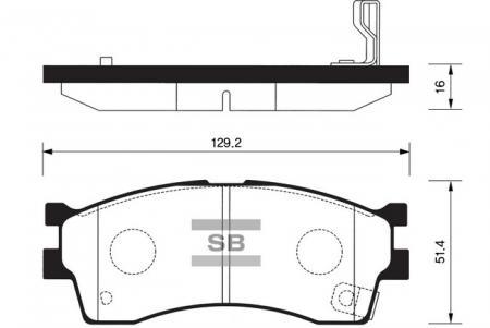 Колодки тормозные передние KIA Rio II 1, 4(Калиннград), Spectra (Иж), Carens 1.3-2.0 Sangsin SP1113 SP1113