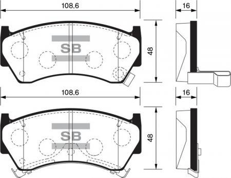 Колодки тормозные передниеNissan Almera 95-00 / Sentra 95-99 / SP1122