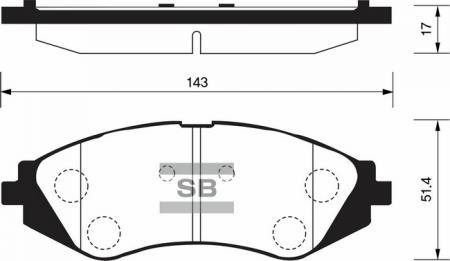 Колодки тормозные передние Chevrolet Lacetti, Tacuma 1, 4-2, 0 SANGSIN SP1159 SP1159