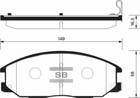 Колодки тормозные передние Ssang Yong Action, Rexton, Kyron SANGSIN SP1171 SP1171