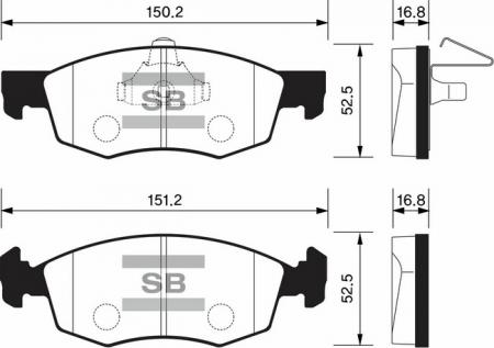 комплект колодок тормозных передних SP1198