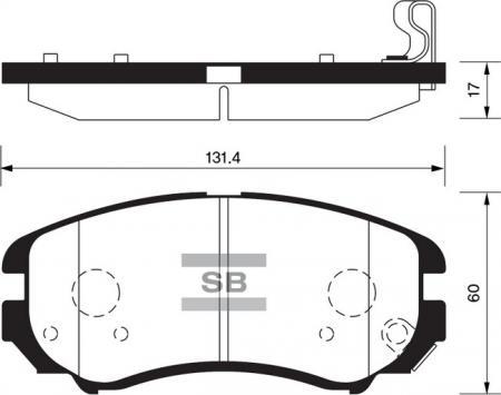 Колодки тормозные передние HYUNDAI Elantra 06-, Kia Sportage 04- SANGSIN SP1202 SP1202