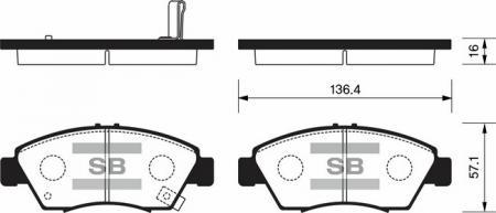 HI-Q SP1221 Колодки тормозные передние Civic 91- SP1221