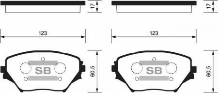 комплект колодок тормозных передних SP1233