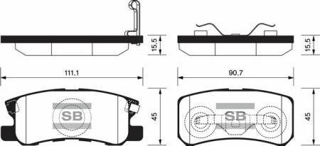 комплект колодок тормозных задних SP2076