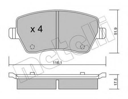 Колодки тормозные передние к-кт 22-0485-0