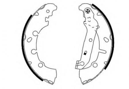 Тормозные колодки Ford, Mazda (Диаметр 203.2мм. Ширина 38мм. Тормозная система Lockheed) барабанный тормоз, комплект 8DB 355 002-411 HELLA