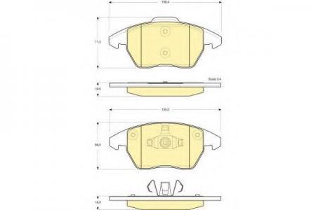Комплект тормозных колодок, дисковый тормоз, 6116052