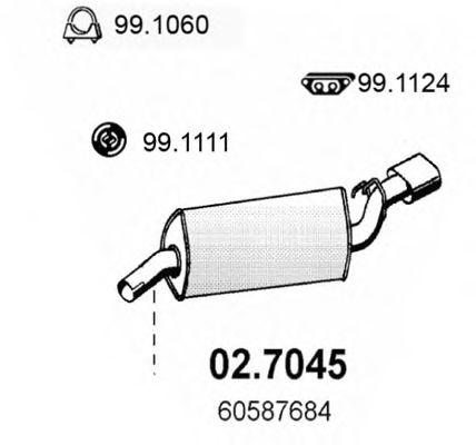 Глушитель задняя часть ALFA 155 1.8-2.0 02.7045