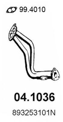 Труба приемная выпускная AUDI 90 2.0-2.3 89 91 04.1036
