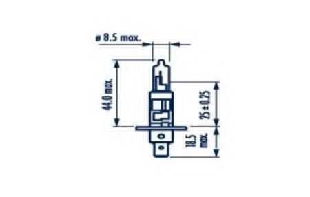 Лампа H1 12V 55W P14, 5s ( стандартного размера +50%) 48334