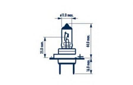 Лампа H7 12V 55W PX 26d ( стандартного размера +50%) 48339