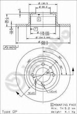 Диск тормозной 2101-2107 Brembo (ЗМЗ) (08.2559.24) 08.2559.24
