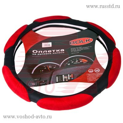 Оплетка на руль L 40см спонж черно-красная BOLK BK01302BK / RD-L BK01302BK/RD-L