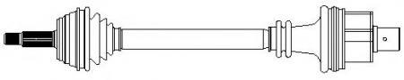 Приводной вал (привод) в сборе правый для RENAULT Clio II 1, 2 / 1, 4 / 1, 6 / Kangoo (FC0M) 17-0396