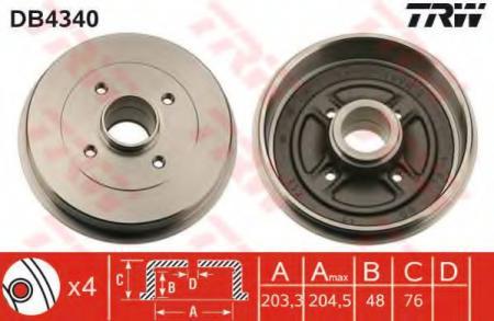 Барабан тормозной Note / MicraK12 DB4340