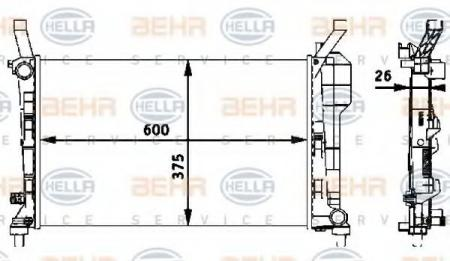 Радиатор W169 1.5 МКПП 04- (67106) 8MK 376 721-021