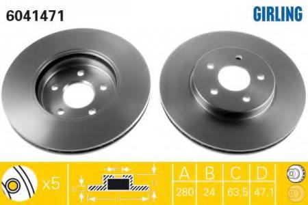 Диск тормозной передний вентилируемый MONDEO III 00-> 6041471