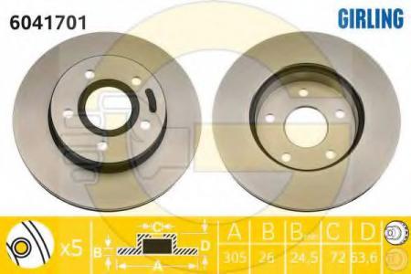 Диск тормозной передний вентилируемый GR.CHEROKEE 99-> 6041701