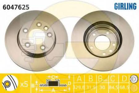 Диск тормозной передний левый вентилируемый VW / CAYENNE 6047625