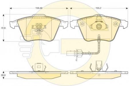 Колодки тормозные передние с датчиком износа A4/A6/A8 03- 6116172
