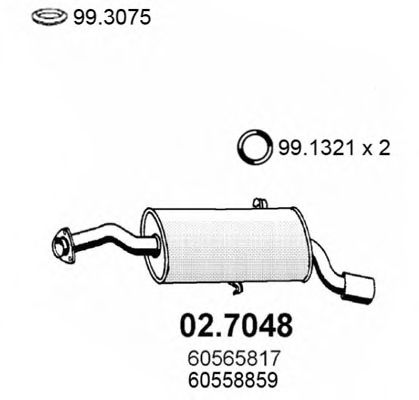 Глушитель задняя часть ALFA 164 2.0 T 3.0 V6 88 02.7048
