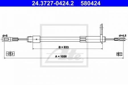 Трос стояночного тормоза для MERCEDES BENZ 24.3727-0424.2
