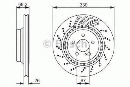 Диск тормозной MERCEDES W211 / C215 / C219 AMG55 / 63 / 65 02- задний вент. 0 986 479 654