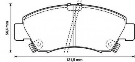 Колодки тормозные передние HONDA CIVIC 92-> 572 324 J
